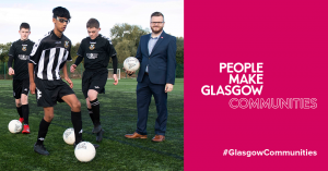 People Make Glasgow Image with young footballers and Councillor David McDonald