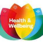 coloured petals with text: Health & Wellbeing